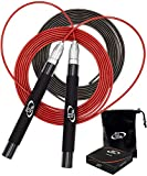 Deluxe High Speed Jump Rope - Skipping Rope for Fitness - 2 Jump Ropes Adjustable Cables, Crossfit Jump Rope Workout for Women Or Men Gift - Double Unders Speed Rope - Boxing Jumping Rope for Adults