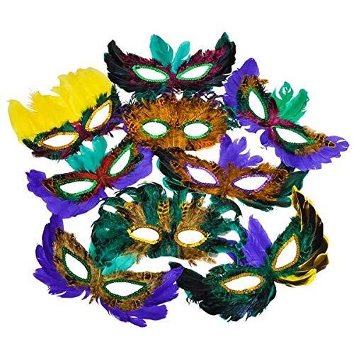 Rhode Island Novelty Mardi Gras Feather Masks | 50 Piece Assortment
