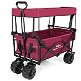 Goplus Collapsible Folding Wagon Cart, Utility Garden Cart Collapsible Outdoor Trolley with Sun/Rain Shade, Push Bar for Shopping, Beach, Lawn, Sports
