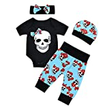 puseky 4pcs Newborn Baby Boys Girls Skull Romper+Pants+Hat+Headband Halloween Outfits (0-6 Months, Black+Blue)