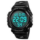 SKMEI Large Face Digital Men's Watch Sports Waterproof LED Military Wristwatches Chronograph Alarm Clock (Black)