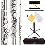 Cecilio High Grade Student C Flute Package in Silver Nickel Plated with Stand, Pocketbook, Case, Screwdriver, Joint Grease, Cleaning Cloth and Rod