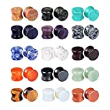 Longbeauty 15Pairs Mixed Stone Saddle Ear Plugs Stretcher Expander Tunnels Ear Gauges Piercing Jewelry 10MM