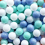 Thenese Pit Balls Crush Proof Plastic Children's Toy Balls Macaron Ocean Balls Small Size 2.15 Inch Phthalate & BPA Free Pack of 200 White&Green&Blue