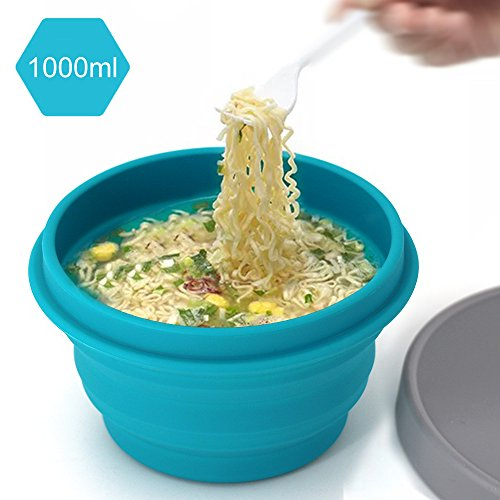 LAOPAO Collapsible Silicone Bowl with Lid 1000ML for Outdoor Camping, Travel, Hiking and Indoor Home Kitchen, Office, School Student, Food-Grade, Space-Saving