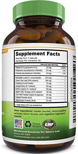 Natural Water Pills - Reduce Excess Water - Weight Loss Appetite Suppressant Benefits - Vitamin B6 Pyridoxine Hydrochloride - Dandelion Root + Pure Green Tea Diuretic for Women & Men 5