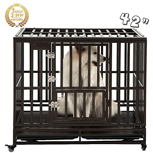 SMONTER 42' Heavy Duty Strong Metal Dog Cage Pet Kennel Crate Playpen with Wheels, I Shape, Brown ...