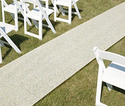 Hortense B. Hewitt Wedding Accessories Fabric Aisle Runner, Ivory Floral, 100-Feet Long