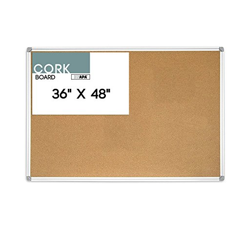 36 x 48 Inch Cork Board – Aluminum Framed Large Corkboard Bulletin Board for Home, Office or Dorm