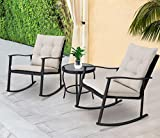 Solaura Outdoor Furniture 3-Piece Rocking Wicker Patio Bistro Set Black Wicker with Beige Cushions - Two Chairs with Glass Coffee Table
