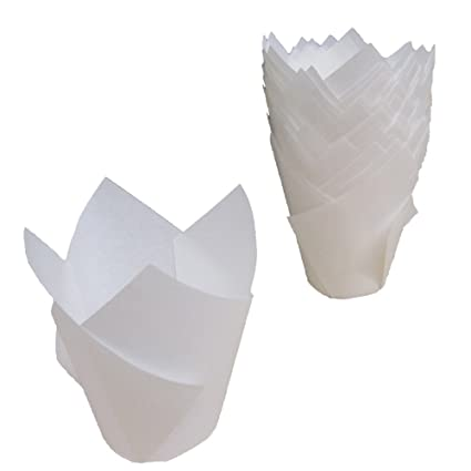 Katgely White Tulip Baking Cups (Pack Of 200): Paper Muffin Liners, Elegant Wrappers For Standard Sized Cupcakes, Non-Stick And Grease-Proof
