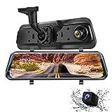 Mirror Dash Cam Dual Dash Cam 9.66' FHD Touch Screen Backup Camera for Car Stream Media Dual Len 170°1080P Front+150°1296P Rear View Dashcam WDR Night Version Loop Recording G-Sensor Parking Monitor