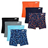 Fruit of the Loom Boys' Big Boxer Brief, Exposed and Covered Waistband, Assorted (Pack of 7), Medium