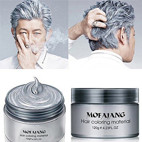 MOFAJANG Hair Color Wax,Instant Silver Grey Hair Wax,Temporary Hairstyle Cream 4.23 oz, Silvery Grey Hair Pomades, Natural Silver Ash Matte Hairstyle Wax for Men and Women (Ash Matte Grey)