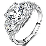 FENDINA Womens 18K White Gold Plated 3 Stone CZ Crystal Eternity Promise Ring Engagement Wedding Bands, Size 5