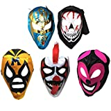 5PACK Mascaras de Luchador | Assorted Mexican Wrestling Masks | Excellent Costume for Mexican Fiesta| Adult Size Lucha Libre Mask | Traditional Luchador Mask