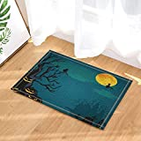 Halloween Decor A Witch and Pumkin Under Moonlight Bath Rugs for Bathroom Non-Slip Floor Entryways Outdoor Indoor Front Door Mat Kids Blue