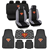Superman Seat Cover, Rubber Floor Mat and Sun Shade - Warner Brothers 14 Piece Full Interior Protection Auto Accessories
