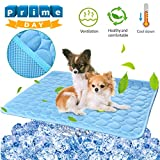 Pet Dog Cooling Mat Pad for Dogs Cats Ice Silk Mat Cooling Blanket Cushion for Kennel/Sofa/Bed/Floor/Car Seats Cooling Blue, 28' x 22''