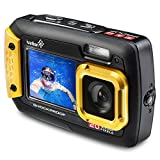 Ivation 20MP Underwater Waterproof Shockproof Digital Camera & Video Camera w/Dual Full-Color LCD Displays - Fully Submersible Up to 10 Feet (Yellow)