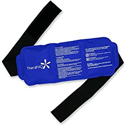 "Pain Relief Ice Pack with Strap for Hot & Cold Therapy - Reusable Gel Pack for Injuries | Best as Heat Wrap or Cold Pack for Back, Waist, Shoulder, Neck, Ankle, Calves and Hip (Large pack: 14"" X 6"")"
