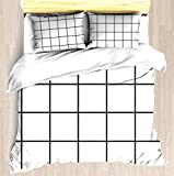 SINOVAL Black and White Grid Twin/Twin XL Extra Long Size Brushed Microfiber 1 Duvet Cover 2 Pillow Shams Zipper Closure