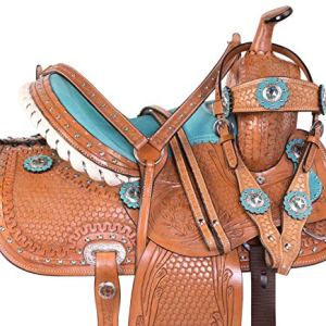 Acerugs 10″ 12″ 13″ 14″ Western Horse Kids Youth Cowboy Cowgirl Pleasure Trail Barrel Racing Saddle TACK Bridle Breast Collar