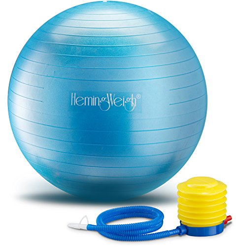 Static Strength Exercise Stability Ball with Foot Pump | Perfect For Fitness Stability and Yoga | Helps Improve Agility, Core Strength, and Balance (Blue, 65cm)