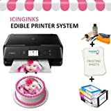 Edible Cake Printer Bundle Package – Canon Edible Image Printer, Edible Ink Cartridges, Frosting Sheets, Edible Cleaning Kit, Free Image Designing Lifetime, Edible Printer for Cakes by Icinginks