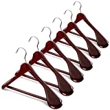 High-Grade Wide Shoulder Wooden Hangers 6 Pack with Non Slip Pants Bar - Smooth Finish Solid Wood Suit Hanger Coat Hanger, Holds upto 20lbs, 360° Swivel Hook, for Dress, Jacket, Heavy Clothes Hangers