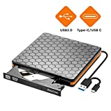 DVD Drive, External CD Drive with USB 3.0 Type C, Portable Optical USB C Burner CD -ROM Reader VCD - RW Writer Player for Laptop Desktop MacBook  [Not for Chromebook]