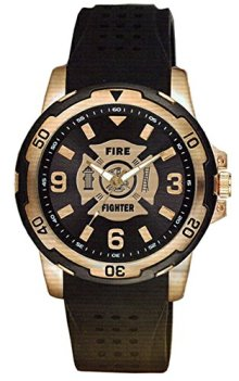 Firefighter Brass and Stainless Steel Etched Dial Mens Watch