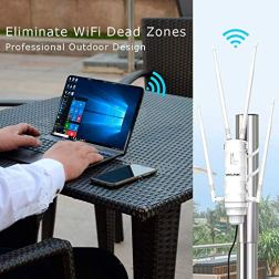 WAVLINK-AC1200-High-Power-Outdoor-Weatherproof-WiFi-Range-ExtenderWireless-Access-PointRouter-with-Passive-POE-Dual-Band-24GHz-300Mbps58-GHz-867Mbps-4x7dBi-Detachable-Omni-Directional-Antenna