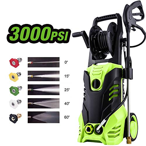 Homdox 3000PSI Pressure Washer,1.8GPM Electric High Power Pressure Washer Machine with Power Hose Gun Turbo Wand and 5 Interchangeable Nozzles,Black&Green