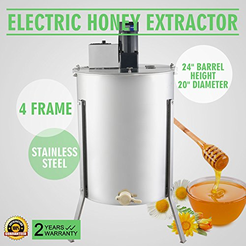 OrangeA Honey Extractor Bee Honey Extractor Electric Honeycomb Spinner 4 Frame Stainless Steel Beekeeping Accessory (4 Frame Electric Honey Extractor)