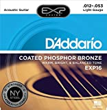 D'Addario EXP16 Coated Phosphor Bronze Acoustic Guitar Strings, Light, 12-53 - Offers a Warm, Bright and Well-Balanced Acoustic Tone and 4x Longer Life - With NY Steel for Strength and Pitch Stability