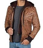 BlingSoul Mens Hooded Leather Bomber Jacket | Hooded Edinburgh, XL