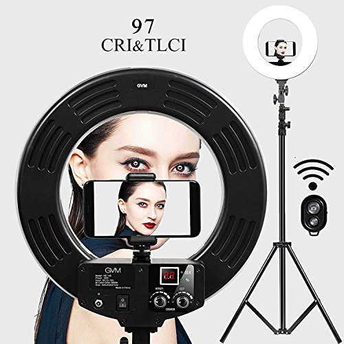 GVM Photo Studio LED Ring Light with light stand Kit 14-inch 3200-5600K CRI 97+ Dimmable Bi-color SMD LED Lighting for Portrait Video Shooting