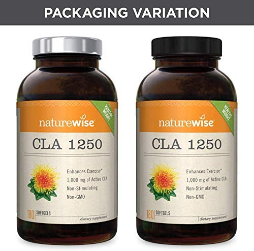 NatureWise CLA 1250 Natural Weight Loss Exercise Enhancement (2 Month Supply), Increase Lean Muscle Mass, Non-Stimulating, Non-GMO, Gluten-Free, & 100% Safflower Oil (Packaging May Vary) [180 Count] 9