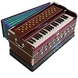 Harmonium Musical Instrument, Maharaja Musicals, In USA, 9 Stops, 3 1/2 Octave, Double Reed, Coupler, Dark Mahogany, Standard, Book, Padded Bag, A440 Tuned, Harmonium Indian Sangeeta (PDI-DC)