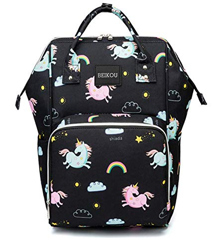 51AK7 uWRoL - MOCA Mummy mommy baby Diaper Bag bagpack backpack Multi-Function Baby Diaper Backpack Nappy Bags Mom Dad Travel Backpack Large Capacity Baby diaper Bags (Rainbow Unicorn Black)