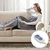Beautyrest Foot Pocket Soft Microlight Plush Electric Blanket Heated Throw Wrap with Auto Shutoff, 50x62, Grey