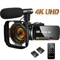 Camcorder Video Camera 4K 30MP Digital Camcorder Camera with Microphone Ultra HD Vlogging Camera with Remote Control…