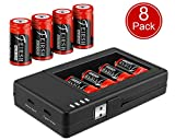 CR123A Rechargeable Batteries and Charger, RCR123A Lithium ion Battery Charger with 8 Pack 3.7V 800mAH Batteries for Arlo Security Cameras Alarm System