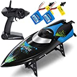 ANTAPRCIS 25km/h RC Boat, 2.4GHz 180° Flip Remote Control Race Boat for Pool Lake Boy Adult, Black