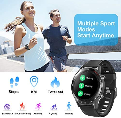 Smart Watch, LCW Fitness Tracker Watch with Heart Rate Blood Pressure Monitor, Blood Oxygen Meter, Body Temperature Measurement, Step Counter, Sleep Tracker, IP67 Waterproof Smartwatch for Men Women 2
