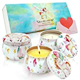LA BELLEFÉE Unicorn Scented Candle, 3 x 4.4oz Aromatherapy Soy Wax Portable Travel Tin Candle Set, Holiday Gift for Her Create a Fun Memory (Fantasy, Miracle, Charm)