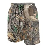 Ruwoi6 Realtree Camo Wallpapers Boy's Summer Swim Trunks Quick Dry Funny Beach Board Shorts with Boys Lining