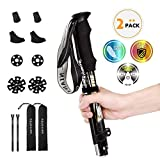 NIANYISO Hiking Poles Collapsible Lightweight for Height 5'3'-6'3', 2 Pack Adjustable Trekking Poles Aluminum Hiking Walking Sticks Walking Poles with EVA Soft Foam Handles for Man Women