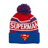 DC Comics Men's Superman Cuffed Pom Beanie with Embroidered Logo